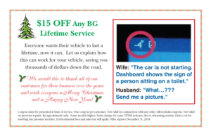 Postcard Special of the Month from Joe's Slinger Service
